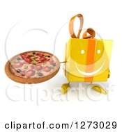 Clipart Of A 3d Happy Yellow Gift Character Holding Up A Pizza Royalty Free Illustration by Julos