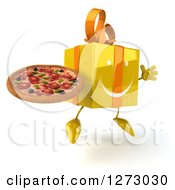 Clipart Of A 3d Happy Yellow Gift Character Facing Right And Jumping With A Pizza Royalty Free Illustration by Julos