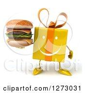 Clipart Of A 3d Happy Yellow Gift Character Holding A Double Cheeseburger Royalty Free Illustration by Julos