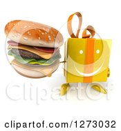 Clipart Of A 3d Happy Yellow Gift Character Holding Up A Double Cheeseburger Royalty Free Illustration by Julos