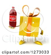Clipart Of A 3d Happy Yellow Gift Character Holding A Soda Bottle Royalty Free Illustration
