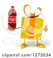 Clipart Of A 3d Happy Yellow Gift Character Holding A Thumb Up And A Soda Bottle Royalty Free Illustration
