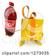 Clipart Of A 3d Happy Yellow Gift Character Holding Up A Soda Bottle Royalty Free Illustration by Julos