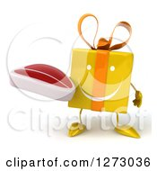 Clipart Of A 3d Happy Yellow Gift Character Holding A Steak Royalty Free Illustration