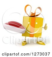 Clipart Of A 3d Happy Yellow Gift Character Holding A Thumb Up And Steak Royalty Free Illustration