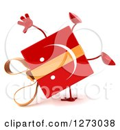 Clipart Of A 3d Happy Red Gift Character Cartwheeling Royalty Free Illustration by Julos