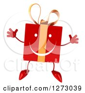 Clipart Of A 3d Happy Red Gift Character Jumping Royalty Free Illustration by Julos