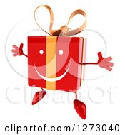 Clipart Of A 3d Happy Red Gift Character Facing Slightly Left And Jumping Royalty Free Illustration by Julos