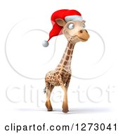 Clipart Of A 3d Christmas Giraffe Walking And Facing Slightly Right Royalty Free Illustration by Julos