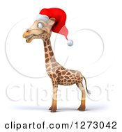 Clipart Of A 3d Christmas Giraffe Facing Left Royalty Free Illustration by Julos