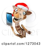 Clipart Of A 3d Christmas Giraffe Facing Talking On A Smart Phone Around A Sign Royalty Free Illustration