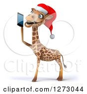 Clipart Of A 3d Christmas Giraffe Facing Left And Talking On A Smart Phone Royalty Free Illustration