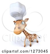 Clipart Of A 3d Chef Giraffe Looking Upwards Royalty Free Illustration