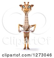 Clipart Of A 3d Giraffe Standing And Holding A Book Royalty Free Illustration by Julos