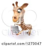 Clipart Of A 3d Giraffe Smiling And Reading A Book Royalty Free Illustration by Julos