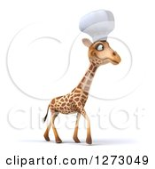 Clipart Of A 3d Chef Giraffe Walking To The Right Royalty Free Illustration