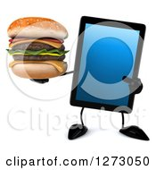 Clipart Of A 3d Tablet Computer Character Holding And Pointing At A Double Cheeseburger Royalty Free Illustration by Julos