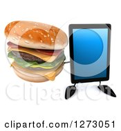 Clipart Of A 3d Tablet Computer Character Holding Up A Double Cheeseburger Royalty Free Illustration by Julos