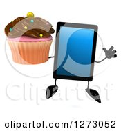 Clipart Of A 3d Tablet Computer Character Jumping And Holding A Chocolate Frosted Cupcake Royalty Free Illustration by Julos