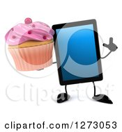Clipart Of A 3d Tablet Computer Character Holding Up A Finger And Pink Frosted Cupcake Royalty Free Illustration by Julos