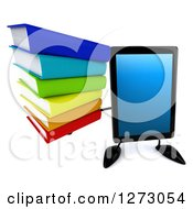 Clipart Of A 3d Tablet Computer Character Holding Up A Stack Of Books Royalty Free Illustration by Julos
