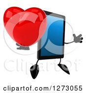 Clipart Of A 3d Tablet Computer Character Facing Right And Jumping With A Heart Royalty Free Illustration by Julos