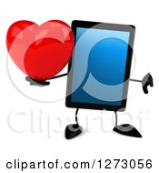 Clipart Of A 3d Tablet Computer Character Holding A Heart And Thumb Down Royalty Free Illustration by Julos