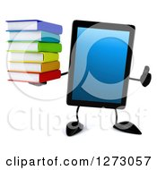 Clipart Of A 3d Tablet Computer Character Holding A Thumb Up And Stack Of Books Royalty Free Illustration by Julos