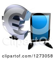 Clipart Of A 3d Tablet Computer Character Holding Up A Euro Symbol Royalty Free Illustration by Julos