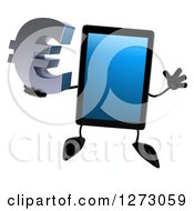 Clipart Of A 3d Tablet Computer Character Jumping And Holding A Euro Symbol Royalty Free Illustration by Julos