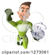 Clipart Of A 3d Young Brunette White Male Super Hero In A Green Suit Flying Forward With A Dollar Symbol Royalty Free Illustration by Julos