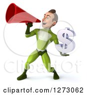Clipart Of A 3d Young Brunette White Male Super Hero In A Green Suit Holding A Dollar Symbol And Announcing Royalty Free Illustration by Julos