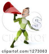 Clipart Of A 3d Young Brunette White Male Super Hero In A Green Suit Holding A Dollar Symbol And Announcing With A Megaphone Royalty Free Illustration by Julos