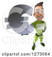Clipart Of A 3d Young Brunette White Male Super Hero In A Green Suit Holding Up A Euro Symbol Royalty Free Illustration by Julos