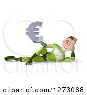 Clipart Of A 3d Young Brunette White Male Super Hero In A Green Suit Resting With A Euro Symbol Royalty Free Illustration by Julos