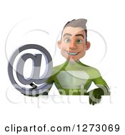 Clipart Of A 3d Young Brunette White Male Super Hero In A Green Suit Holding An Email Arobase Over A Sign Royalty Free Illustration by Julos