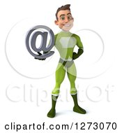 Clipart Of A 3d Young Brunette White Male Super Hero In A Green Suit Holding An Email Arobase Symbol Royalty Free Illustration by Julos