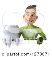Clipart Of A 3d Young Brunette White Male Super Hero In A Green Suit Holding A Tooth Over A Sign Royalty Free Illustration by Julos