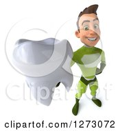 Clipart Of A 3d Young Brunette White Male Super Hero In A Green Suit Holding Up A Tooth Royalty Free Illustration by Julos