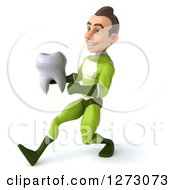 Clipart Of A 3d Young Brunette White Male Super Hero In A Green Suit Running To The Left With A Tooth Royalty Free Illustration by Julos