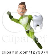 Clipart Of A 3d Young Brunette White Male Super Hero In A Green Suit Flying To The Left With A Tooth Royalty Free Illustration by Julos