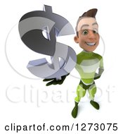 Clipart Of A 3d Young Brunette White Male Super Hero In A Green Suit Holding Up A Dollar Symbol Royalty Free Illustration by Julos