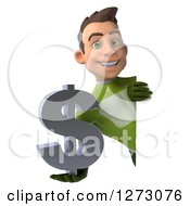 Clipart Of A 3d Young Brunette White Male Super Hero In A Green Suit Holding A Dollar Symbol Around A Sign Royalty Free Illustration by Julos