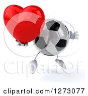 Clipart Of A 3d Soccer Ball Mascot Facing Right And Jumping With Heart Royalty Free Illustration by Julos