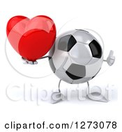 Clipart Of A 3d Soccer Ball Mascot Holding A Thumb Up And A Heart Royalty Free Illustration by Julos