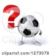 Clipart Of A 3d Soccer Ball Mascot Holding A Question Mark Royalty Free Illustration by Julos