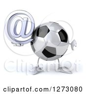 Clipart Of A 3d Soccer Ball Mascot Holding A Thumb Down And Arobase Symbol Royalty Free Illustration by Julos