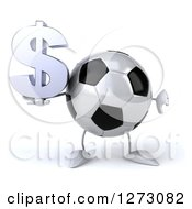 Clipart Of A 3d Soccer Ball Mascot Holding A Thumb Down And Dollar Symbol Royalty Free Illustration by Julos