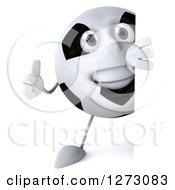 Clipart Of A 3d Soccer Ball Character Holding A Thumb Up Around A Sign Royalty Free Illustration by Julos