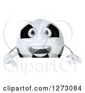Clipart Of A 3d Soccer Ball Character Pointing Down Over A Sign Royalty Free Illustration by Julos